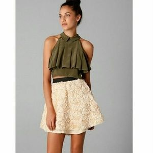 Free People Cream Rosette Skirt, XS